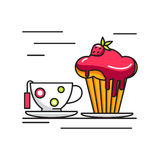 Cup of tea and cake icon. Stock Images