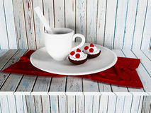 A cup of tea and the cakes on the plate, 3d Royalty Free Stock Images