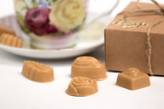 Cup of tea with candies Royalty Free Stock Photos