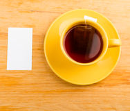 Cup of tea and card Royalty Free Stock Image