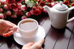 The cup of tea in catering concept Royalty Free Stock Photography