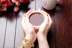 The cup of tea in catering concept Royalty Free Stock Image