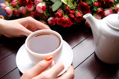 The cup of tea in catering concept Royalty Free Stock Photos