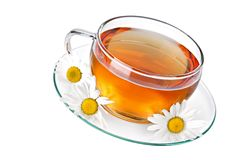 Cup of tea with chamomile royalty free stock photos