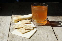 A cup of tea. cheese. biscuits. breakfast Royalty Free Stock Photos