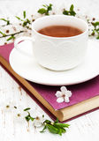 Cup of tea and cherry blossom Stock Photo