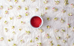 Cup of tea and chestnut blossom flowers. Cup of tea and chestnut blossom spring flowers royalty free stock images