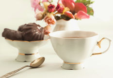 Cup of tea with chocolate Royalty Free Stock Photo