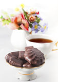 Cup of tea with chocolate Stock Images