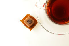 Cup of tea and chocolate Stock Photography