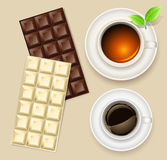 Cup of tea and chocolate bar Stock Image