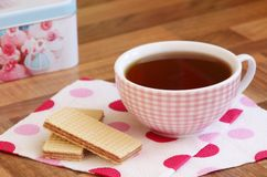 Cup of tea. Cup of tea with chocolate biscuits Royalty Free Stock Images