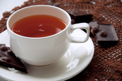 Cup of tea with chocolate Stock Image