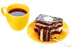 Cup of tea and chocolate cake Royalty Free Stock Photo