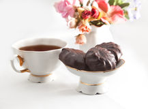 Cup of tea with chocolate marshmallow Royalty Free Stock Image