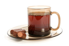 Cup of tea and chocolate sweets Royalty Free Stock Photography