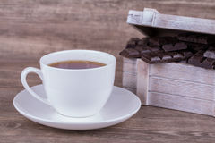 Cup of tea and chocolate Royalty Free Stock Photos