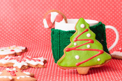 Cup of tea and christmas cookies Stock Images