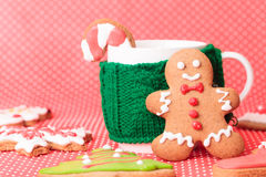 Cup of tea and christmas cookies Stock Photos
