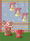 Cup of tea and Christmas holidays decorations Stock Image