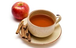 Cup of tea, cinnamon and apple Royalty Free Stock Photography