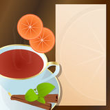 Cup of tea with cinnamon flavor. Hot cup of tea, with cinnamon, orange,green leaves and notepad for descriptions beside it Stock Photo