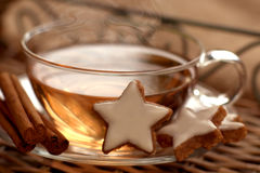 Cup of tea with cinnamon stars Stock Photography