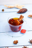 Cup of tea with cinnamon. On a table Stock Image