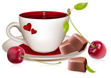 Cup of tea (coffee) heart-shaped chocolates and ri. Photo-realistic vector illustration. Cup of tea (coffee) heart-shaped chocolates and ripe cherries Royalty Free Stock Photography