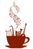 Musical cup of tea or coffee Royalty Free Stock Photography