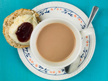 Cup of Tea or Coffee With Scones Clotted Cream and Strawberry Ja Royalty Free Stock Photography