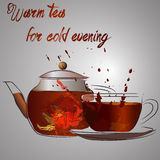 Cup of tea or cold evening Royalty Free Stock Images
