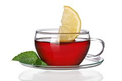 Cup of tea concept. With lemon slice on white background royalty free stock photography