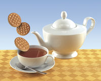 Cup of tea and coochies. Cup of tea with teapot and cookies Stock Image