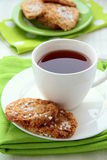 Cup of tea and cookes Royalty Free Stock Images