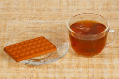 The cup of tea and cookie. The cup of morning tea and cookie Royalty Free Stock Image