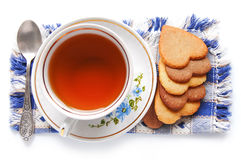 Cup of tea and cookie Royalty Free Stock Images