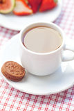 Cup of tea,cookie, fig and strawberries Royalty Free Stock Image