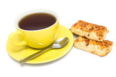 Cup of tea and cookie with nuts Royalty Free Stock Photo