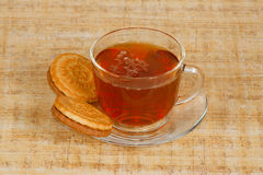 The cup of tea and cookies. The cup of morning tea and cookies Stock Images