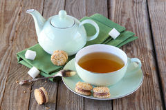 Cup of tea with cookies Stock Photos