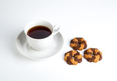 Cup of tea with cookies with cacao on a white background Stock Photography