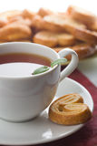 Cup of tea and cookies isolated Stock Image
