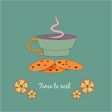 Cup of tea with cookies and lemons. Cup of aromatic tea with biscuit bakery and lemons Stock Photo