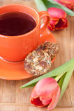 Cup of tea and cookies with nuts, honey and whole Royalty Free Stock Images