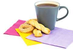 Cup of tea, cookies and rusks Stock Photography