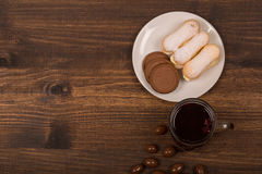 Cup of tea and cookies on the table. royalty free stock photography
