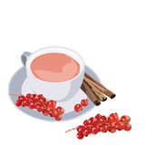 Cup of tea with cranberry and cinnamon Stock Image