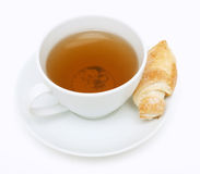 Cup of tea and croissant Royalty Free Stock Image