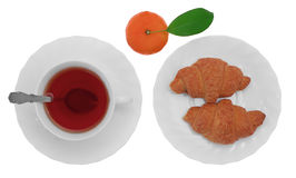 Cup of tea with croissant and mandarin. Cup of tea with croissant and tangerine isolated on white background Stock Photos